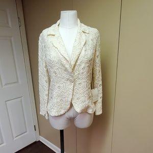 Adrienne vittadini lace cream blazer
